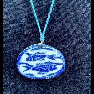 Vintage artisan Pisces fishes, clay necklace